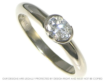 18ct white gold engagement ring with 0.44cts h vs oval recycled diamond