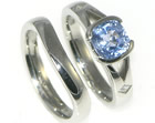 platinum engagement ring with customers own blue sapphire