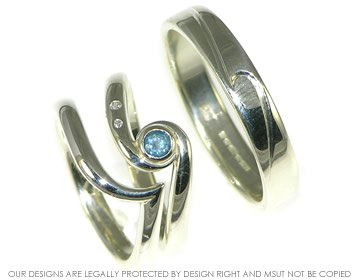Bespoke ocean inspired engagement ring with matching ...