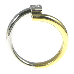 18ct white and yellow gold ring with 0.17cts princess cut diamond