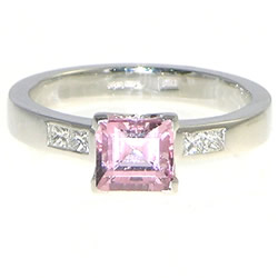0.91cts morganite square-baguette and diamond engagement ring