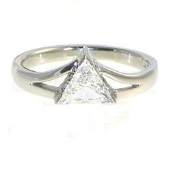 mountain inspired trilliant cut diamond platinum engagement ring