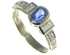 18ct white gold engagement ring with blue sapphire and diamonds