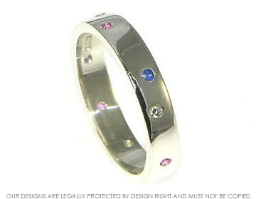 9ct white gold scatter set sapphire eternity ring