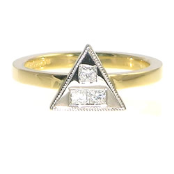 18ct yellow and white gold cupids arrow diamond engagement ring
