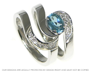 aquamarine and diamond engagement and wedding ring set inspired by ocean waves
