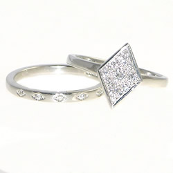 engagement and wedding ring inspired by antique jewellery