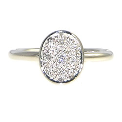white gold antique inspired engagement ring with pave diamonds