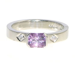 white gold pale pink sapphire and diamond engagement ring