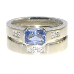 white gold sapphire and diamond engagement and wedding ring set