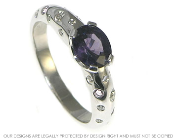 white gold purple sapphire and diamond ring inspired by the night sky