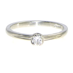 18ct white gold ring with 0.20cts h si recycled diamond