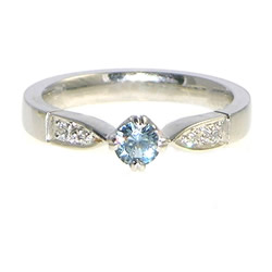 malawi sapphire and diamond white gold engagement ring with antique influence