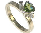 18ct white gold and trillion tourmaline engagement ring