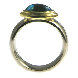 an 18ct gold white and yellow gold topaz engagement ring