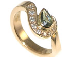 bespoke 18ct rose gold 0.53ct green sapphire and diamond engagament ring