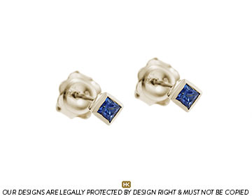 9ct white gold earrings with 2.5mm square cut sapphires