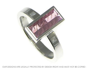 unusual laser cut pink tourmaline and diamond engagement ring