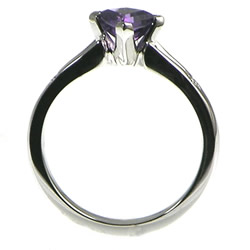 kite shaped amethyst 18ct white gold engagement ring