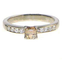 18ct white gold asscher cut cognac diamond engagement ring