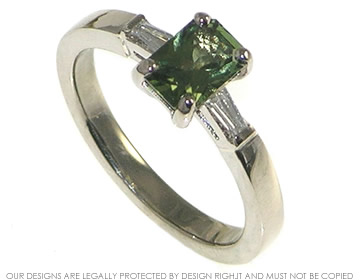 18ct White Gold Ring With Scissor Cut Green Sapphire And