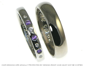 Bespoke 18ct white gold platinum his and her wedding rings