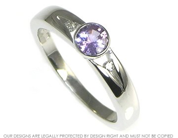 white gold pale lilac sapphire and diamond engagement ring