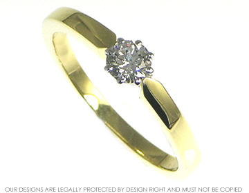 18ct yellow gold ring with 0.26cts brilliant cut h si recycled diamond