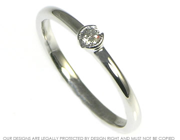 delicate 2.5mm 9ct white gold diamond solitaire engagement ring
