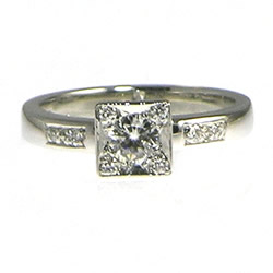 platinum antique inspired diamond engagement ring