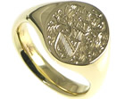 bespoke 9ct yellow gold signet ring engraved with the customer's coat of arms