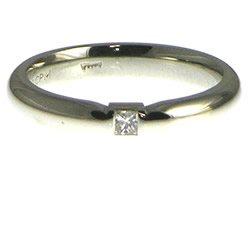 palladium solitaire engagement ring with 2mm princess cut diamond