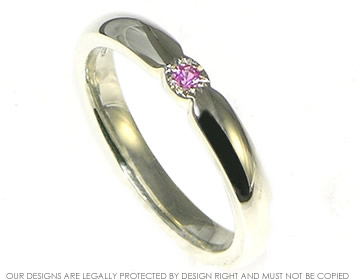 9ct white gold pink sapphire/ruby delicate engagement ring