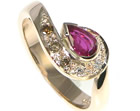 9ct rose gold pear shaped ruby and diamond engagement ring