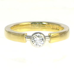 18ct yellow and white gold 0.25cts diamond solitaire engagement ring