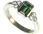platinum and green tourmaline engagement ring