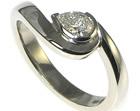 palladium and pear shape 0.36ct h sidiamond aymmetrical twist engagement ring