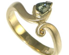 bespoke 9ct yellow gold engagement ring with green sapphire and treated congac diamond