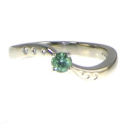 palladium sea foam inspired tourmaline and diamond twist engagement ring