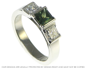 platinum three stone princess cut green sapphire and diamond ring