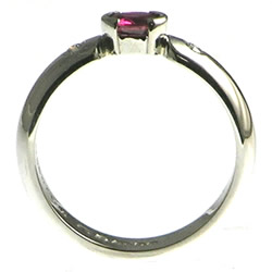 palladium, ruby and diamond engagement ring