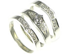 silver and palladium diamond engagementand wedding ring set