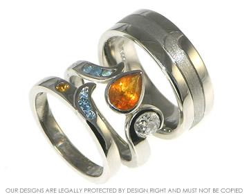 Bespoke palladium wedding ring set inspired by fire and ice