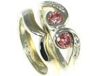 bespoke volcano inspired heat-treated red diamond engagement and wedding ring set