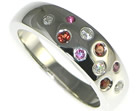 9ct white gold eternity ring with rubies and diamonds