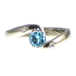 Platinum London Blue topaz ocean inspired engagement ring