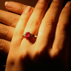 ethical tanzanian ruby and recycled diamond engagement ring in mixed metals