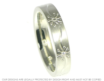 Daisy Inspired Combined Engagement And Wedding Band