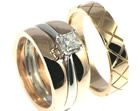 bespoke 9ct rose gold ladies caged styled wedding ring