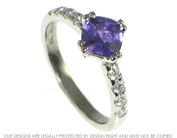 palladium diamond and purple cushion cut 1.12ct sapphire engagement ring